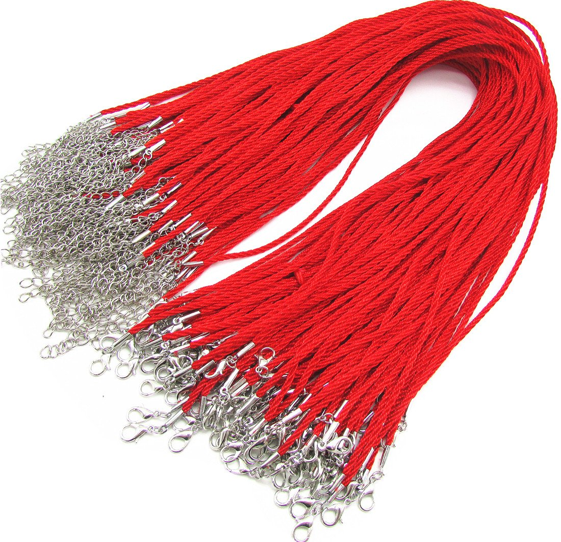 18 Red Satin Silk Necklace Cord Chain Cotton Rope with Lobster Claw Clasp 2.0mm 20