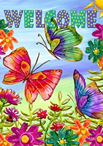Toland Home Garden 1112413 Welcome Butterfly Field 12.5 x 18 Inch Decorative, Garden Flag (12.5