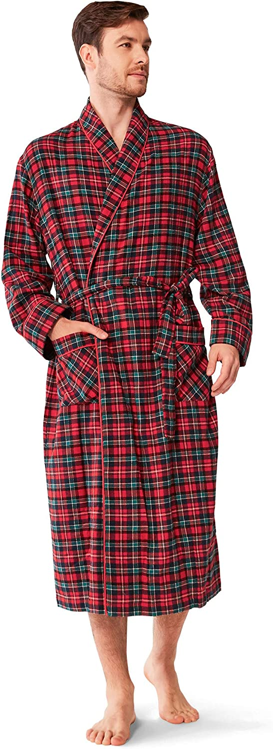 Mens Flannel Robe Lengthened Plush Collar Shawl Warm Solid Bathrobe Sleeved Robe Coat Home Clothes Spa Robe S-5XL