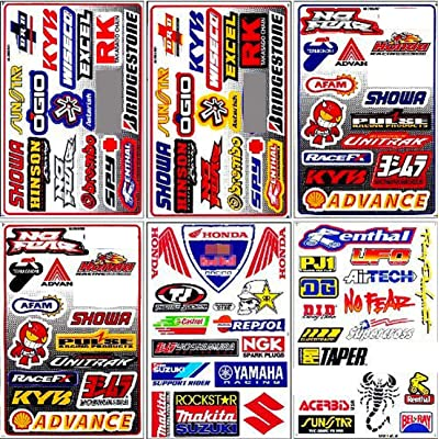 Graphic Racing Sticker Decal Motocross ATV Dirt 6 Sheets: Automotive
