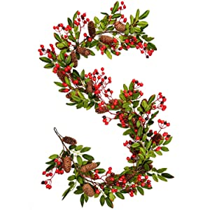Woooow Christmas Garland with Pinecones Berries Fall Foliage Garland Vine Floral Table Runner for Wedding Arch Swag Backdrop Christmas Décor