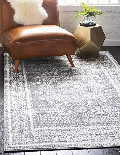 Unique Loom Rosso Collection Vintage Traditional Distressed Gray Area Rug 8' 0 x 10' 0
