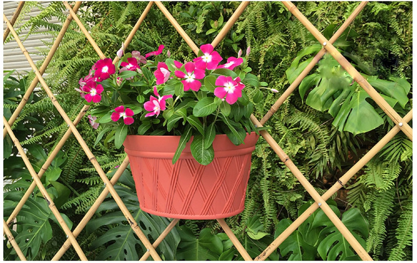 Mr. Garden 12 Inch Plastic Wall-Mounted Planter, Brick Red x1, Green x1, Light Grey x1