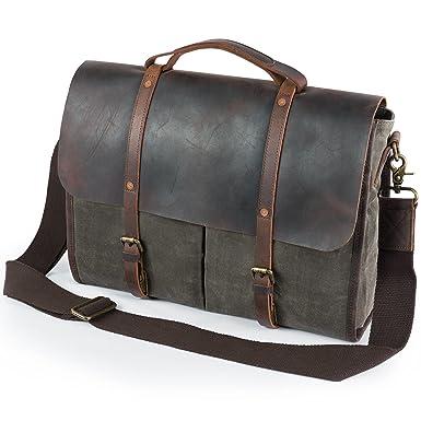 af0ac825b5b2 Lifewit Men s Messenger Bag Waterproof Leather Waxed Canvas Laptop Satchel  Computer Shoulder Briefcase