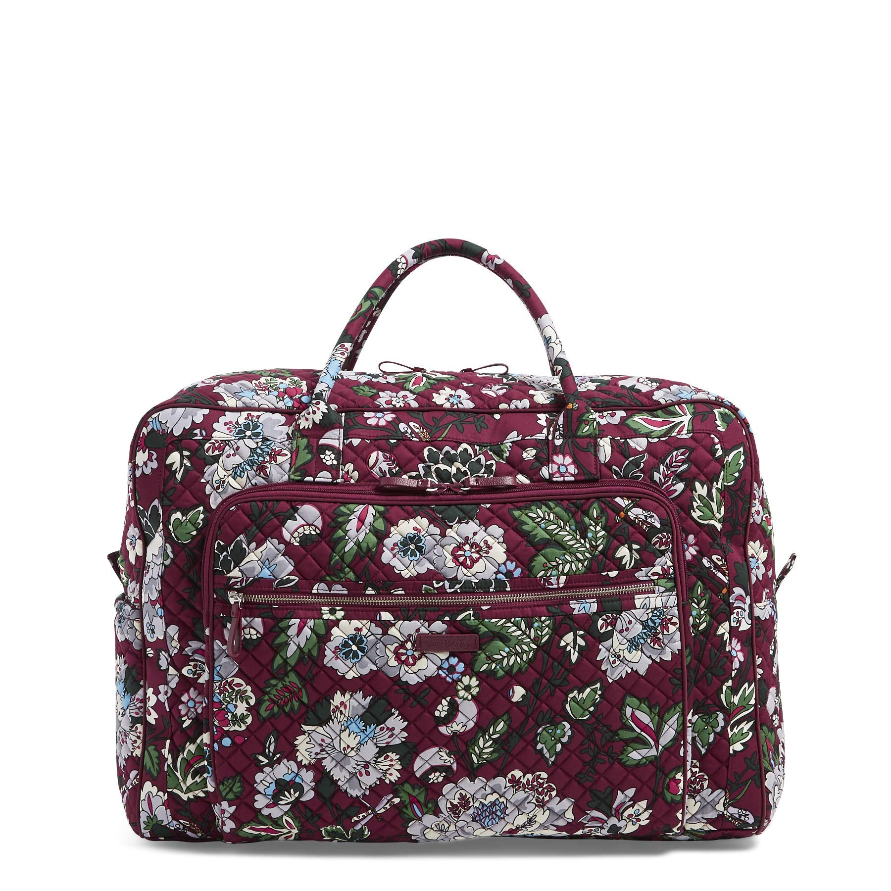Vera Bradley Iconic Grand Weekender Travel Bag, Signature Cotton, bordeaux blooms