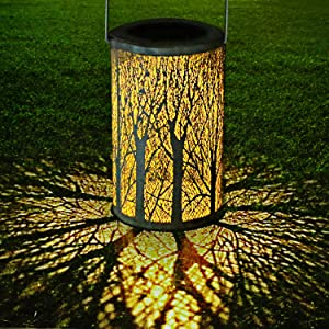 LED Solar Lantern Outdoor, GolWof Decorative Hanging Garden Lantern Cylindrical Lamp Night Light IP44 Waterproof with Photosensitivity for Porch/ Lawn/ Courtyard/ Walkway/ Driveway Christmas