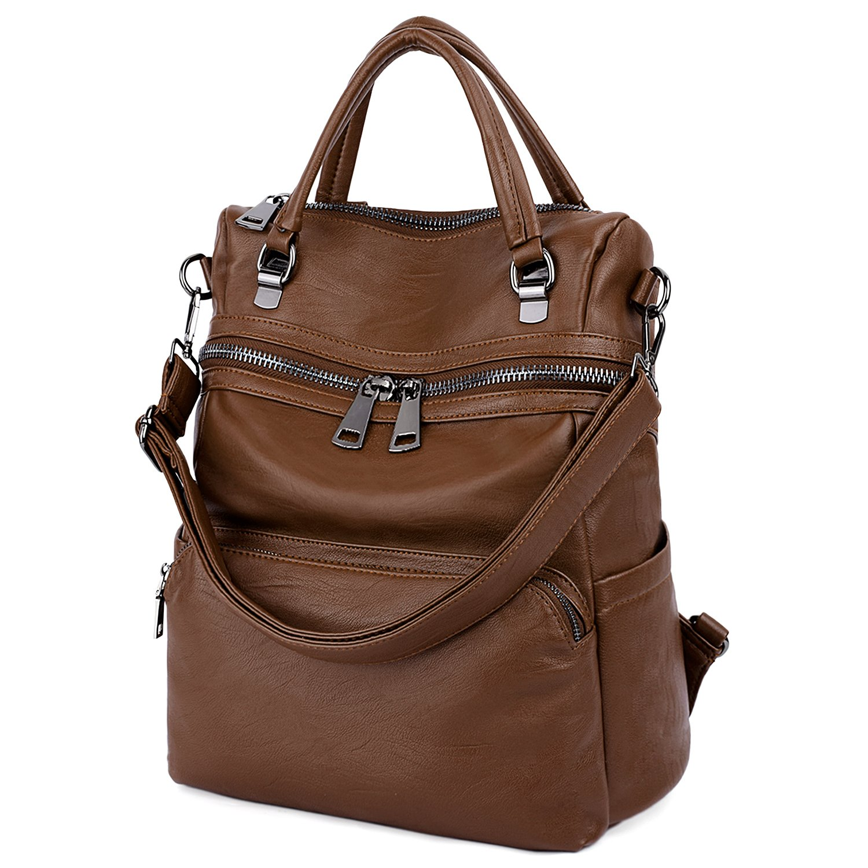 LARGE SIZE-UTO Women Backpack Purse PU Washed Leather Ladies Rucksack Shoulder Bag B Brown