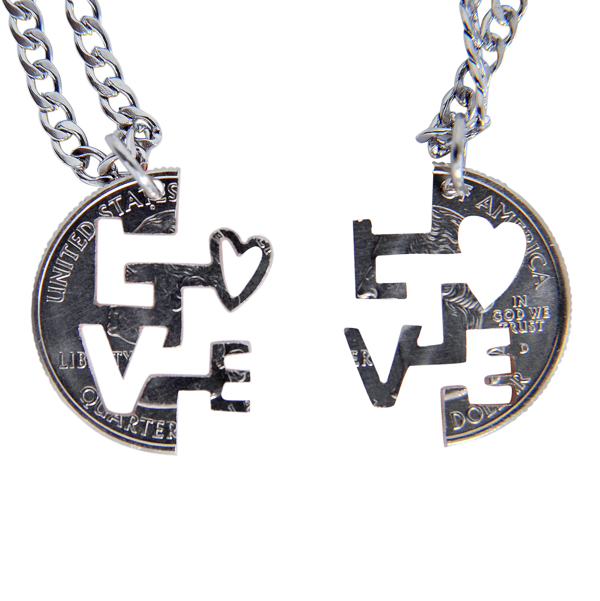 MaryCrafts Set Hand Cut coin I LOVE YOU Necklace Interlocking Necklace Jewelry Relationship BFF 16''