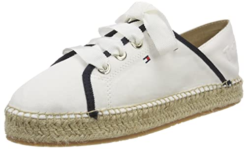 TH Metallic Lace Up Espadrille, Alpargata para Mujer, Blanco (Whisper White 121), 37 EU Tommy Hilfiger