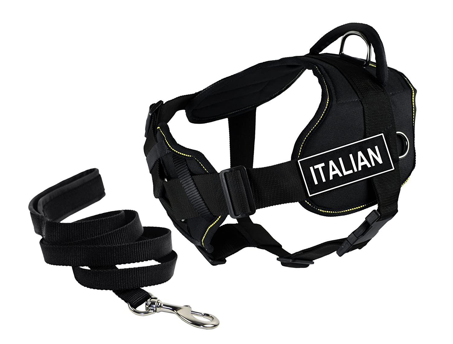 Dean & Tyler's DT Fun Chest Support ITALIAN Harness, Large, with 6 ft Padded Puppy Leash.