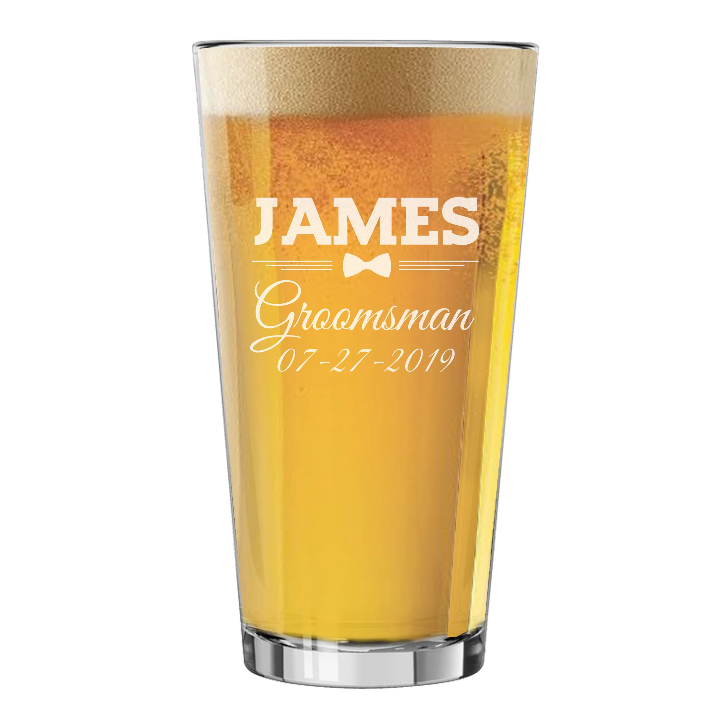 Set of 3, Set of 5, Set of 7 and more Groomsman Wedding Party 16 oz Pint Beer Glasses - Custom Engraved and Personalized for Free - Bow Tie Style (4) by The Wedding Party Store (Image #2)