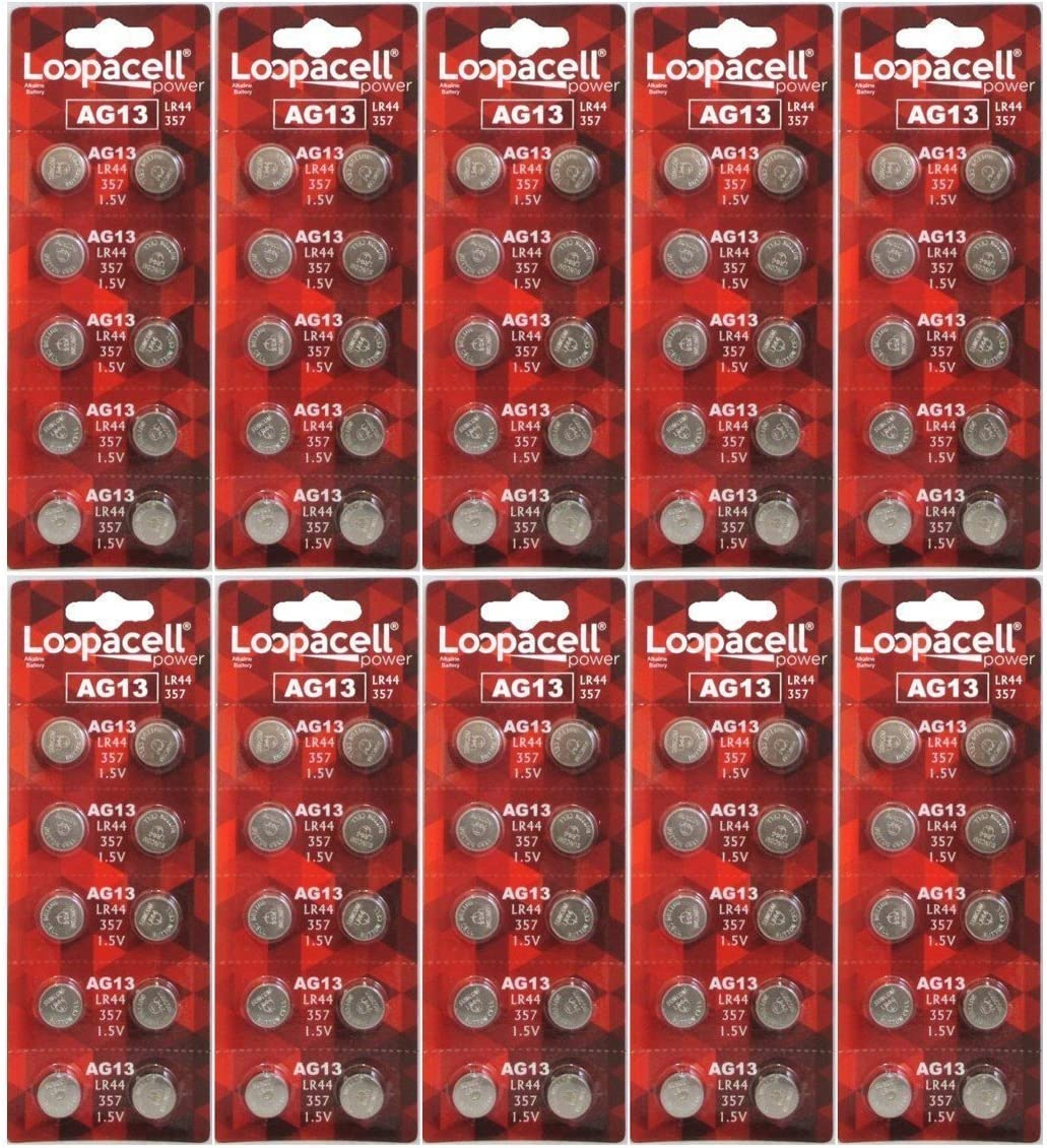 100 Pack LOOPACELL LR44 AG13 357 Button-Cell Batteries 814tkrfB2BZL