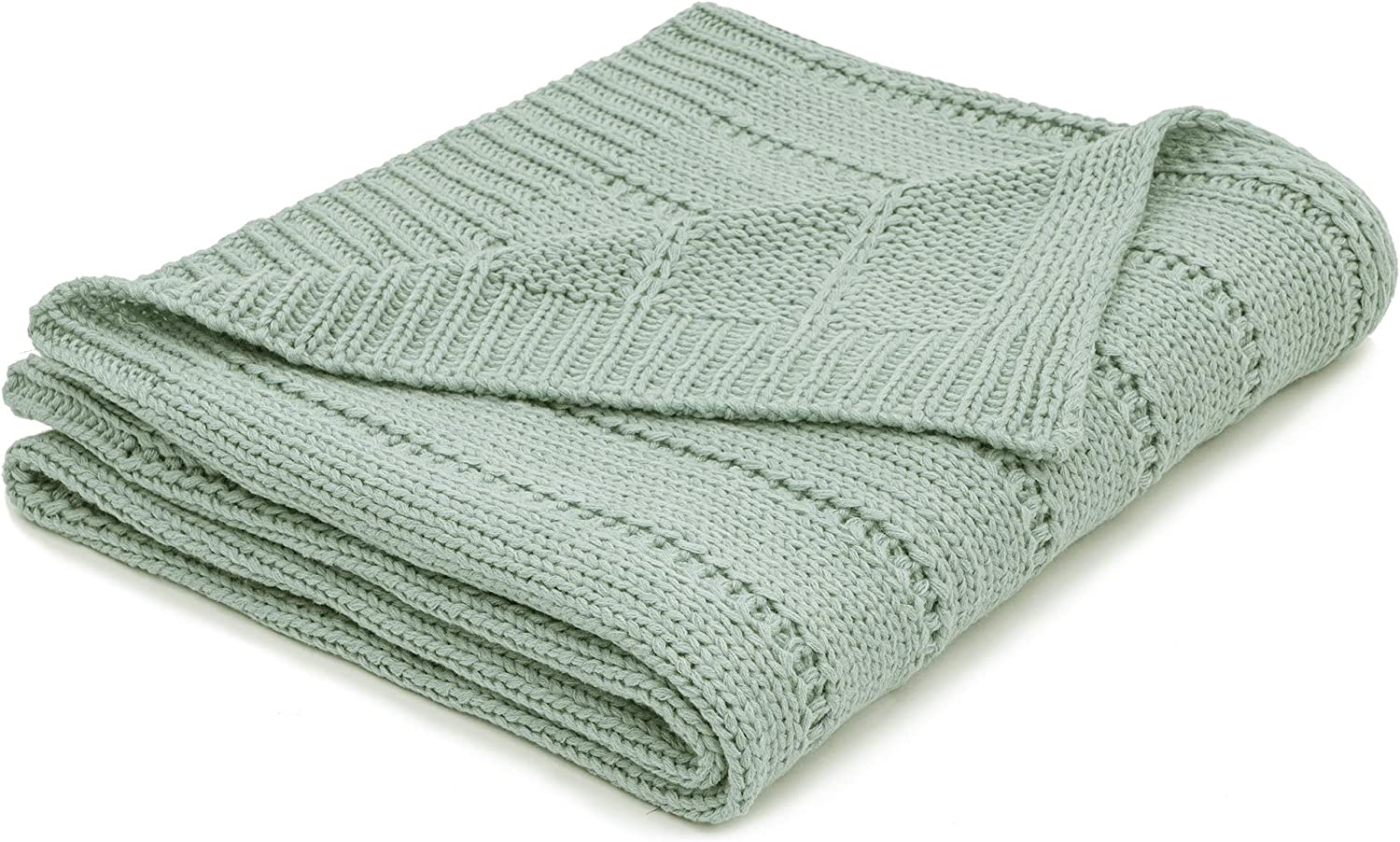 RECYCO Acrylic Solid Color Knitted Throw Blanket Cable Textured Decorative Throw Blanket for Couch Chairs Bedroom Office Home Decor (Sage)