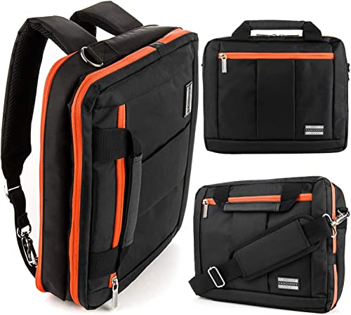 13.3 Inch 14 Inch 3 in 1 Laptop Tablet Shoulder Messenger Bag, Backpack, Briefcase Fit HP,Lenovo,Dell,Apple, Orange