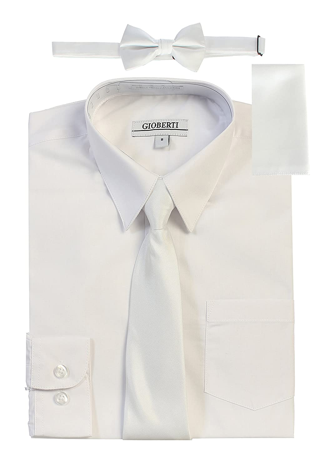 Gioberti Boy's Long Sleeve Dress Shirt + Solid Tie DS-86