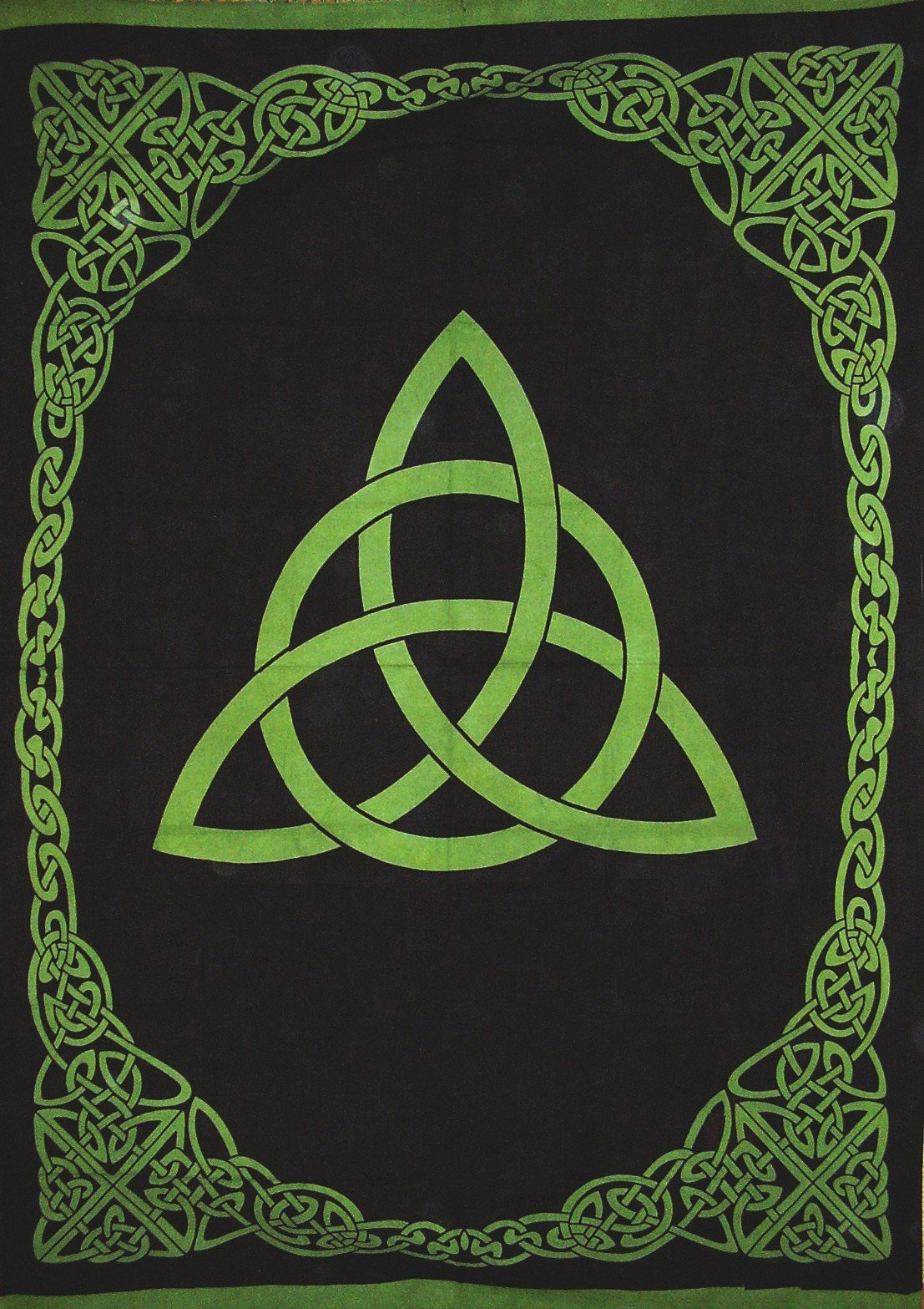India Arts Celtic Trinity Knot Tapestry Heavy Cotton Spread 98'' x 70'' Twin Green