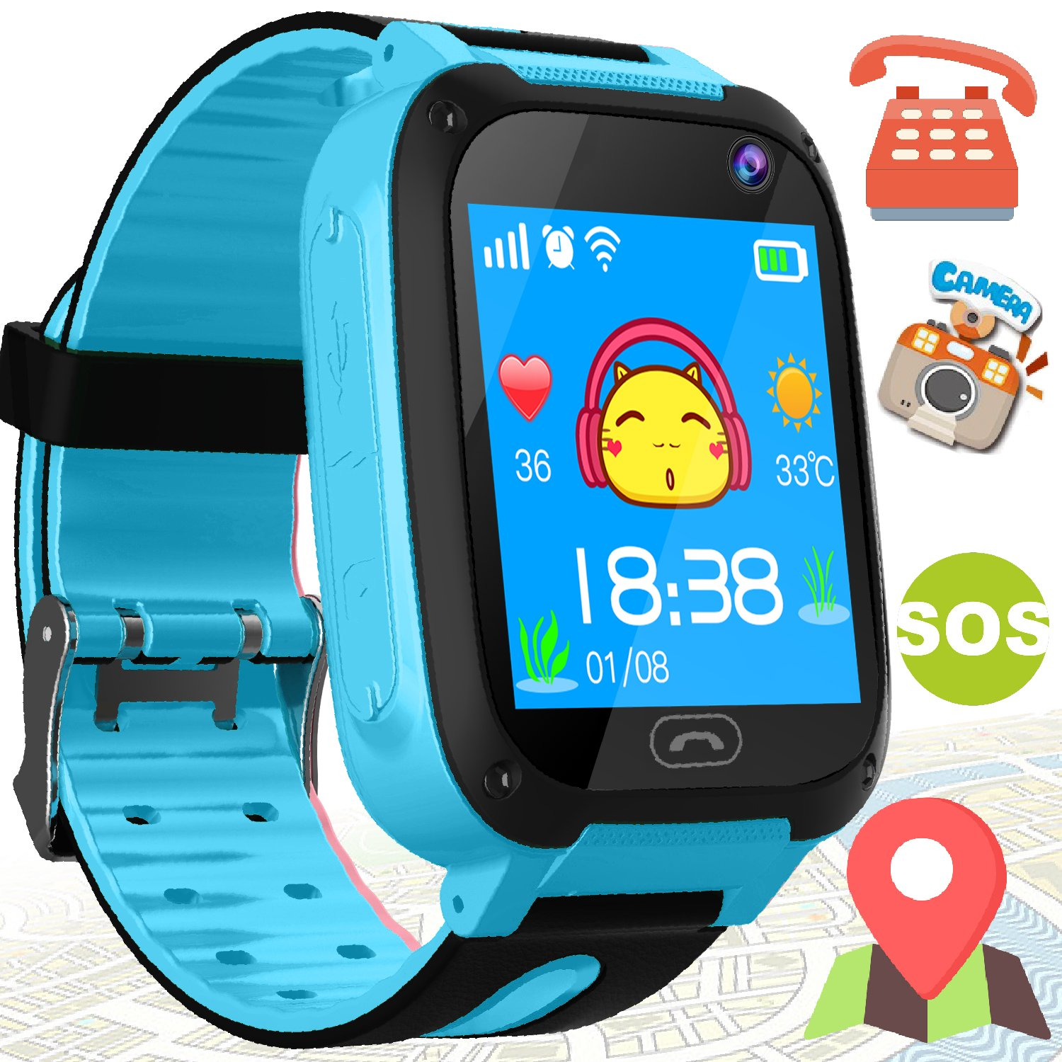 Kids Smart Watch Phone - Kids GPS Tracker Smartwatch for Girls Boys with Mobile Phone SOS Anti-lost Camera Game Touch Screen Children Outdoor Digital Wrist Watch Bracelet for Summer Holiday Gift