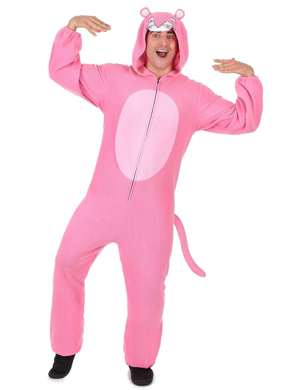 Traje de pantera rosa con capucha rosa hombre Única: Amazon ...