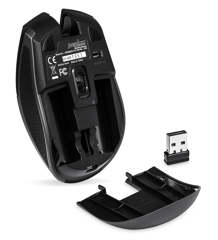Perixx PM-712B-10843 - Ratón óptico (RF inalámbrico, 2000 DPI, USB), negro: Amazon.es: Informática