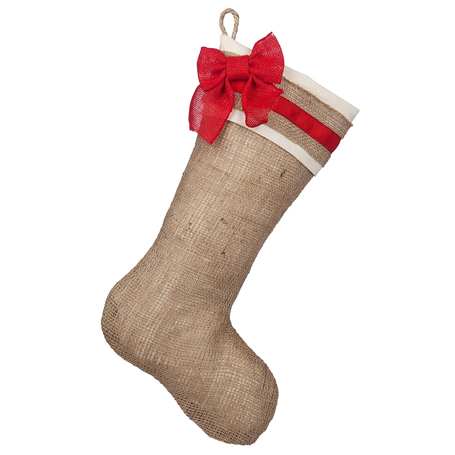 Burlap stocking with red accents Style B