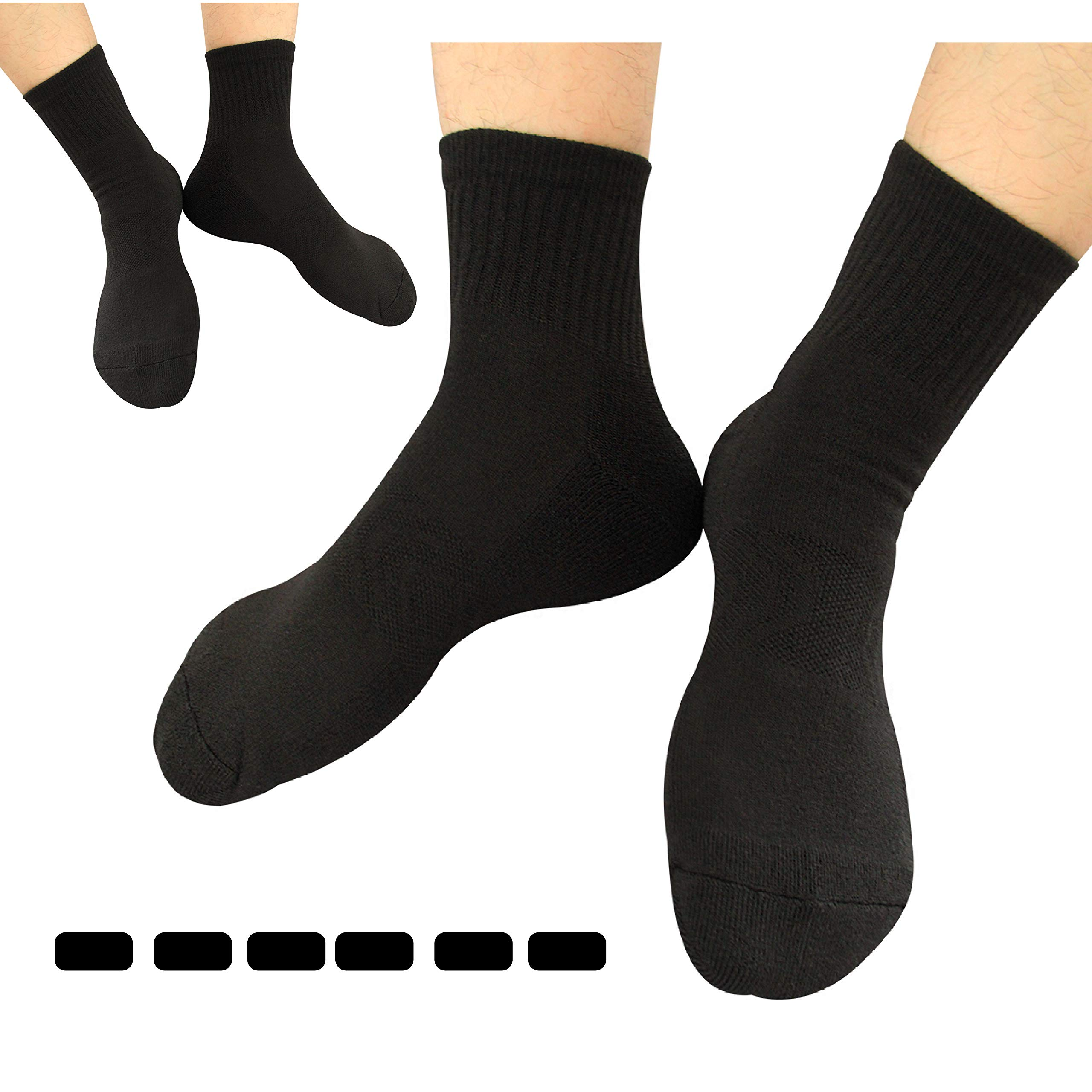 Zisuper Men's 6 Pack Athletic Crew Dress Socks Breathable Performance Sports High Ankle Mid Calf Workout Socks for Men