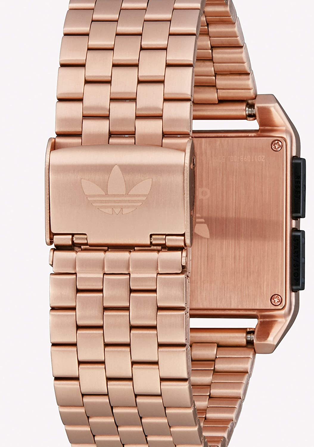 Adidas Watches Archive_M1. Men's 70's Style Stainless Steel Digital Watch with 5 Link Bracelet (36 mm). Rose Gold/Black