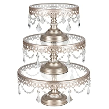 Amalfi Decor Cake Stand Set of 3 Pack with Glass Tops, Dessert Cupcake Pastry Candy Display Plate for Wedding Event Birthday Party, Round Metal Pedestal Holder with Crystals, Champagne