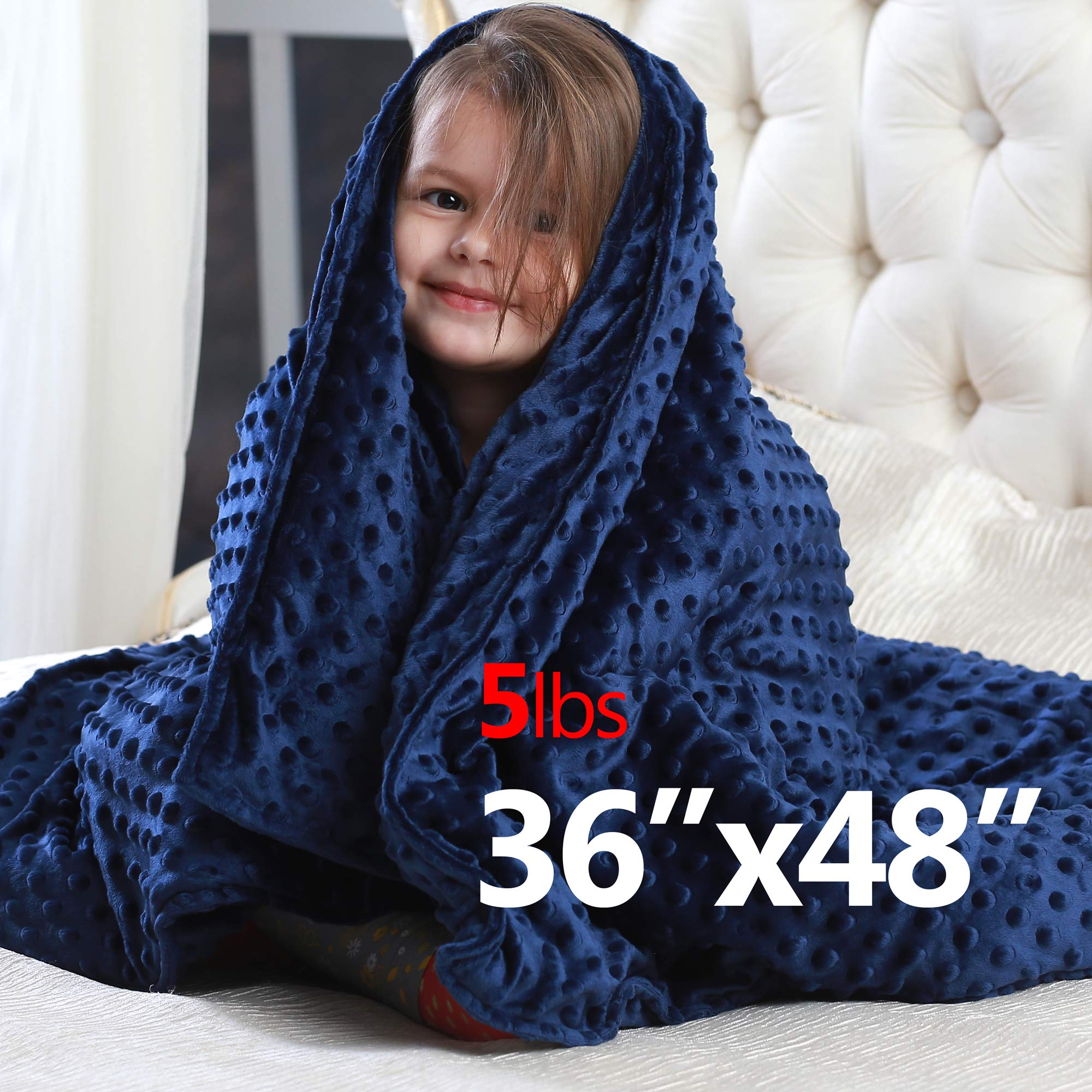 Weighted Blanket for Kids 5 Pounds - Childrens Toddler Heavy Blanket with Removable Cover (36 inches x 48 inches) by Gravaria (Image #7)