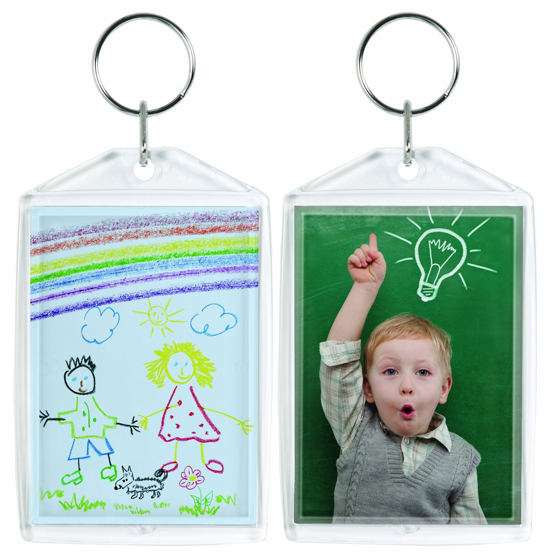 Acrylic Photo Snap-In Keychain - 25 Pack (2'' x 3'')