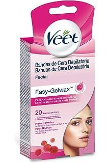 Veet Bandas de Cera Depilatoria Facial - Pieles Normales - Easy Gelwax, 20 bandas