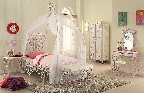 ACME Furniture 30530T Priya II Canopy Twin Bed White u0026 Light Purple & Amazon.com: ACME Furniture 30530T Priya II Canopy Twin Bed White ...