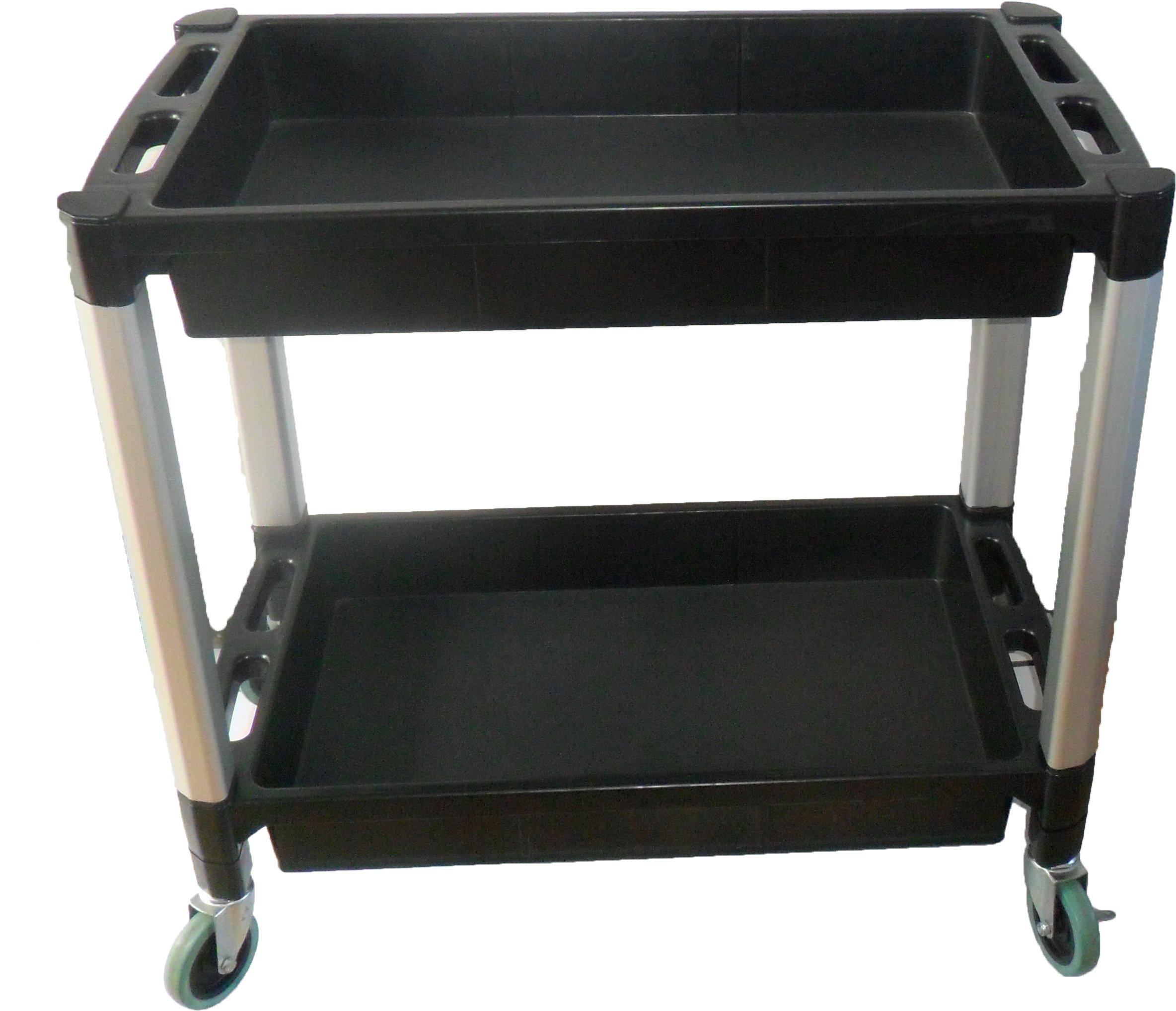 MaxWorks 80384 Black and Gray Two-Tray Service/Utility Cart With Aluminum Legs And 4'' Diameter Swivel Castors by MaxWorks (Image #5)