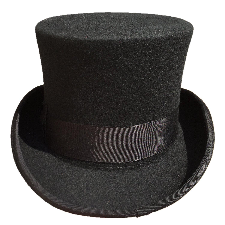 768850e952 Black Wool Felt Low Short Top Hat For Men Women 5 1/4