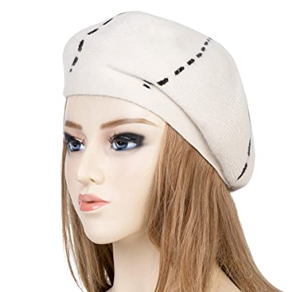 Womens Reversible Cashmere Beret Hat Double Layers French Beret (Milk White)   Amazon.ca  Luggage   Bags 97eb391e49d