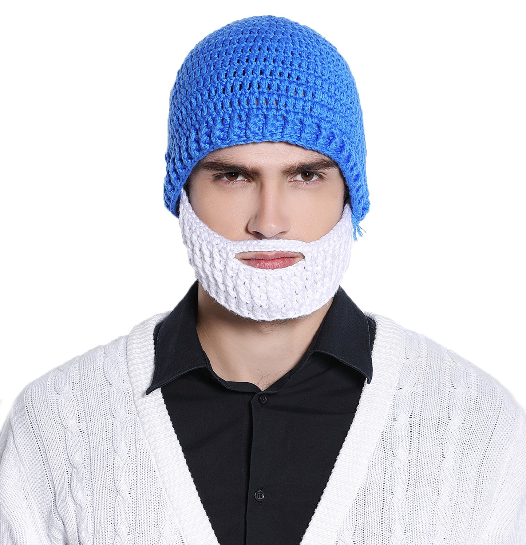 638ab294399   Kafeimali Men s Barbarian Warrior Knit Beard Hat Original Beanie  Halloween Caps  19.99. Click ...