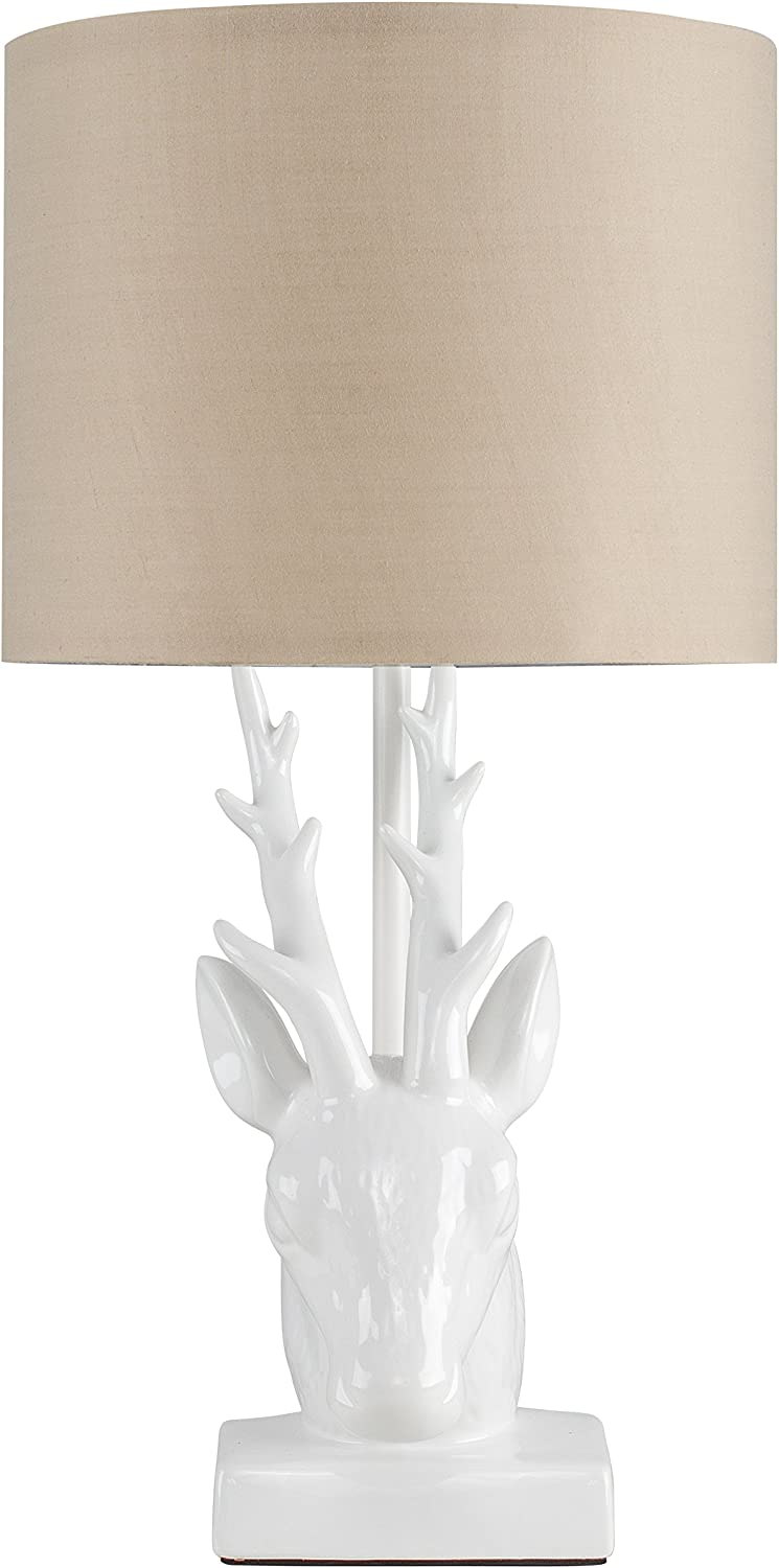 Modern Gloss White Ceramic Stags Head Design Table Lamp with a Beige Cylinder Light Shade
