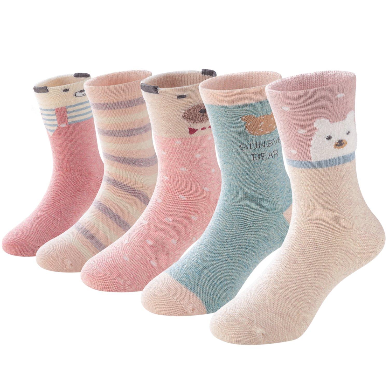 SUNBVE Toddler Little Girls Bears Fun Cotton Ankle Socks 5 Pack