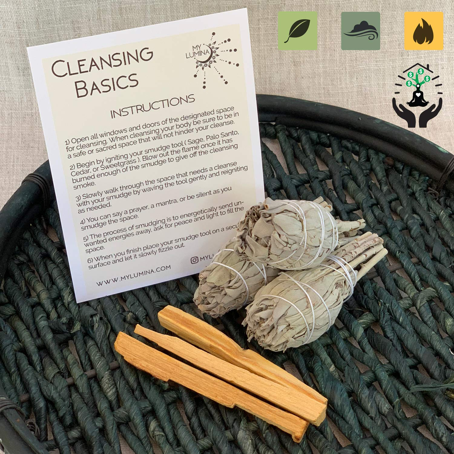 SMUDGE REFILL KIT STICKS - Chakra Balancing, White Sage & Palo Santo, for Healing Incense, Purifying, Protection, Spiritual Cleansing, Good Luck, Prosperity, Home Blessing and Meditation Stress Relief by My Lumina (Image #1)