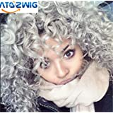 ATOZWIG New Heat Resistant Synthetic Black To Grey Curly Wigs Pixie Cut Hair Kinky curly wig