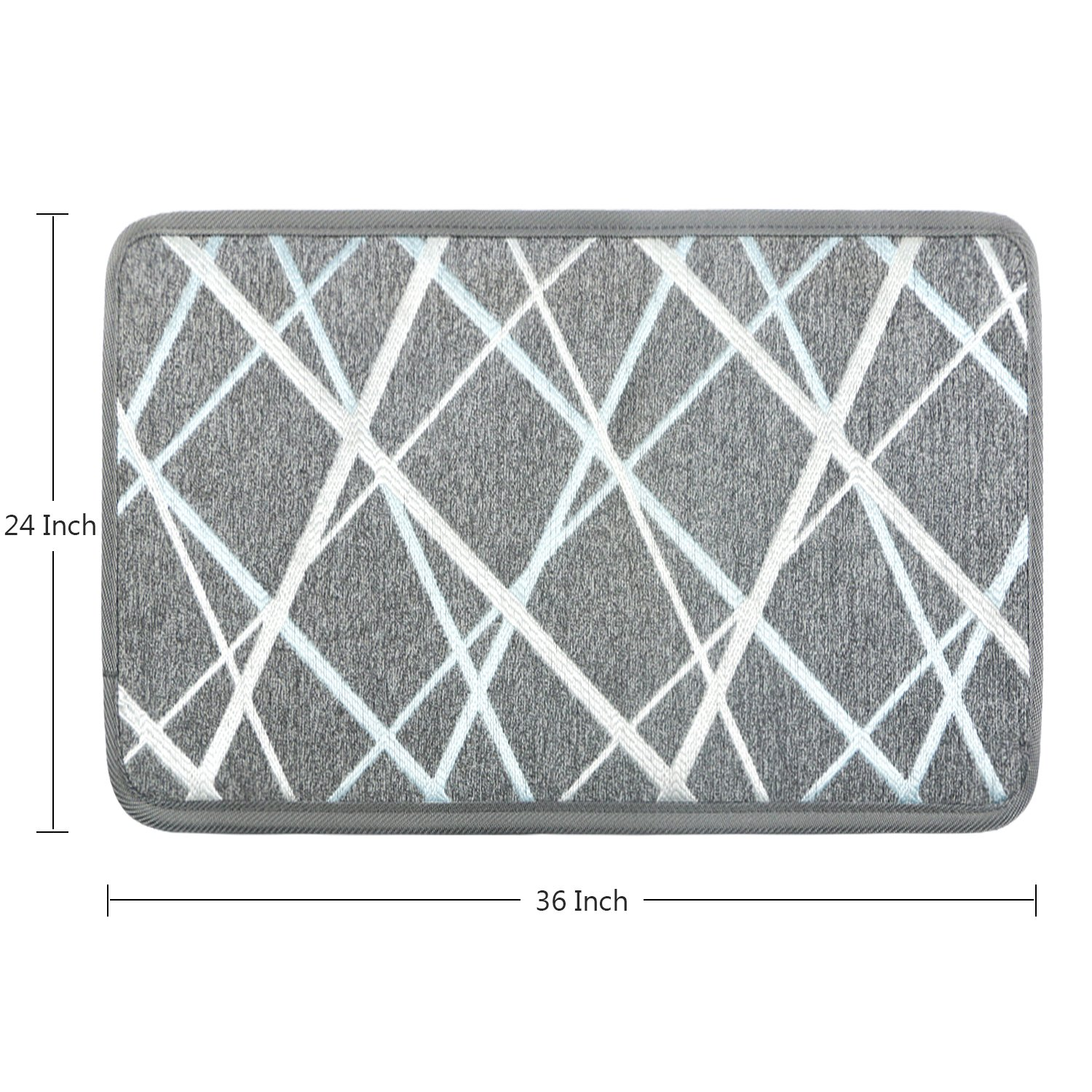 Soloom Stair Treads/Landing Mat/Floor Rugs with Non-Slip Rubber Backing, Perfect for Door Entrance, Grey 24×36 Inch