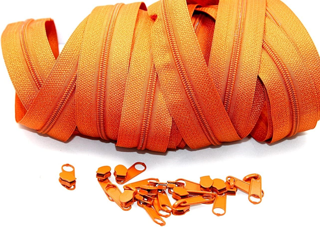Rei/ßverschl/üsse endlos 3m mit 15 Zipper in Terracotta 3mm
