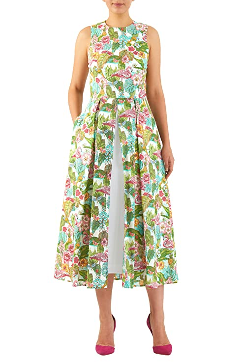 Pin Up Dresses | Pin Up Clothing Tropical print cotton inset front dress $58.95 AT vintagedancer.com