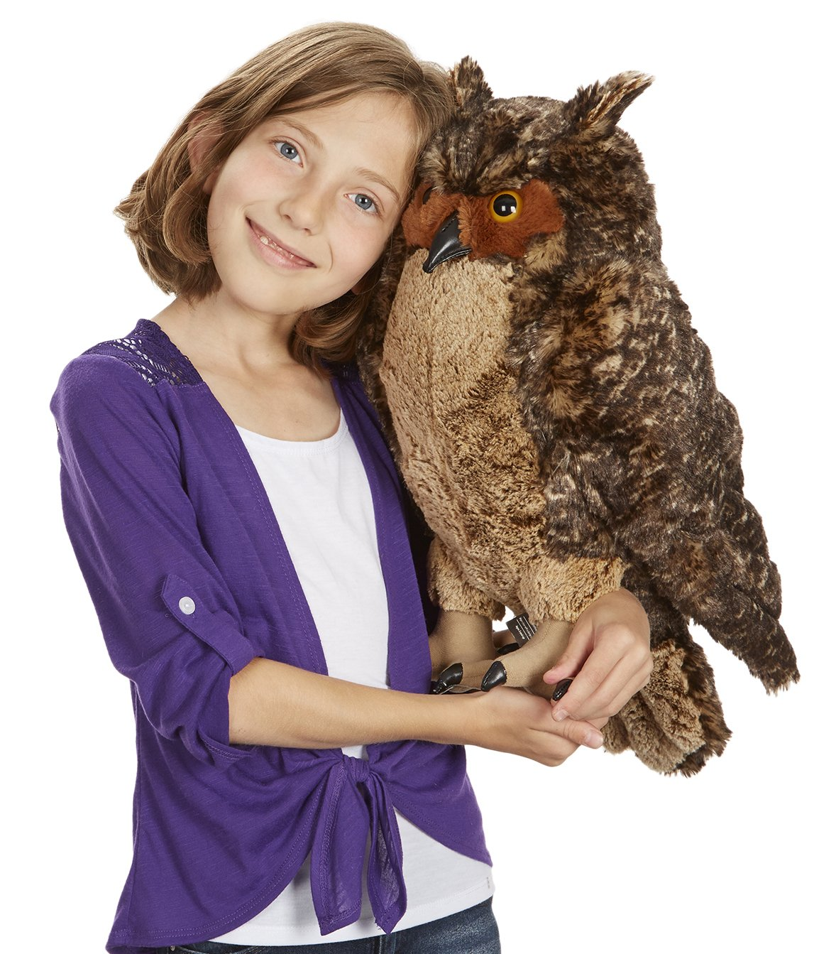 Melissa & Doug Lifelike Plush Owl (Stuffed Animal & Plush Toy, Crafted With Care, Soft Fabric, 17'' H x 14'' W x 17'' L) by Melissa & Doug