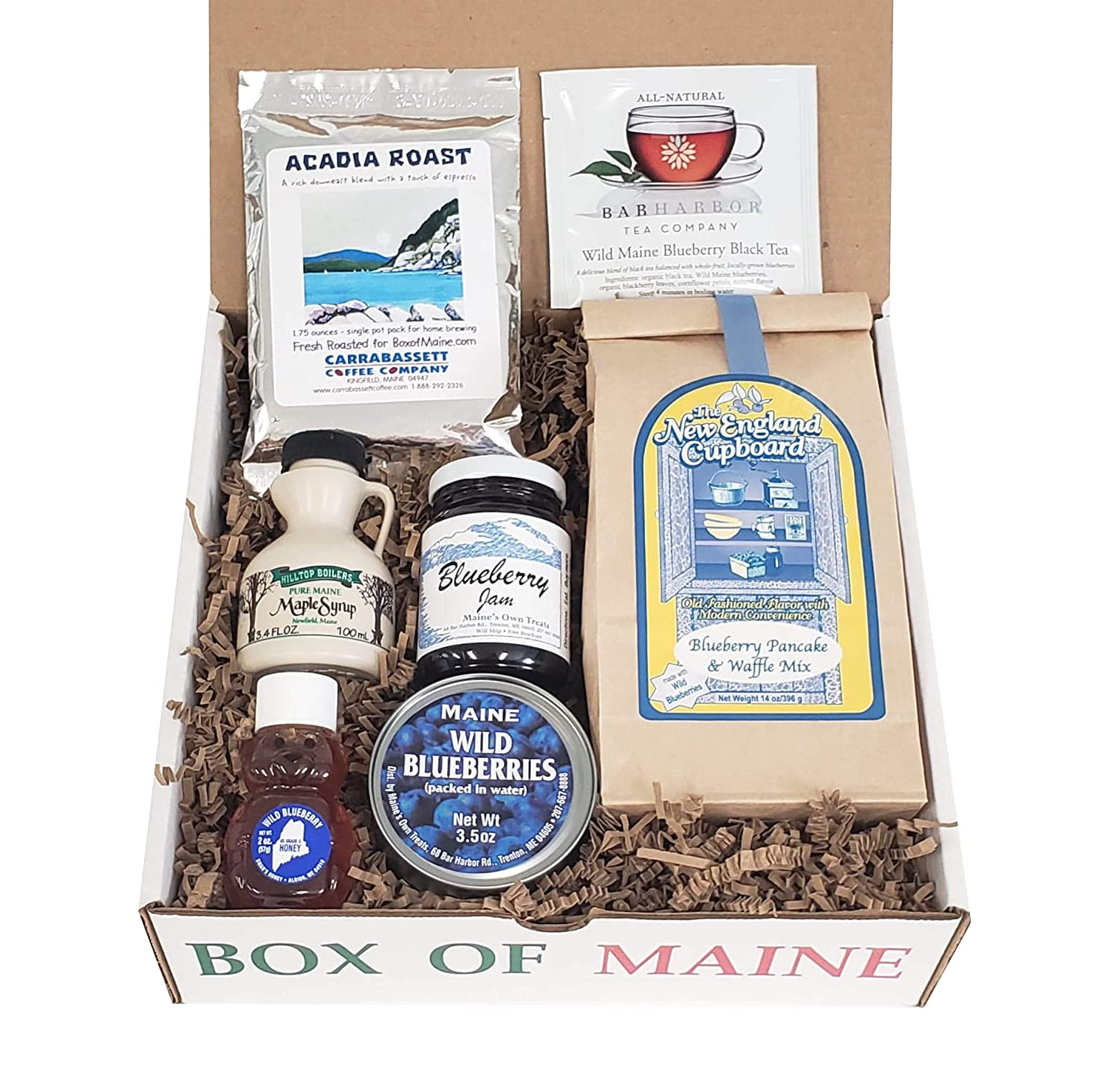 Maine Breakfast Box - 7 piece Gift Pack ( Pure Maple Syrup, Organic Honey, Wild Blueberry Jam, Bar Harbor Tea, Acadia Coffee, Canned Blueberries and Blueberry Pancake Mix)