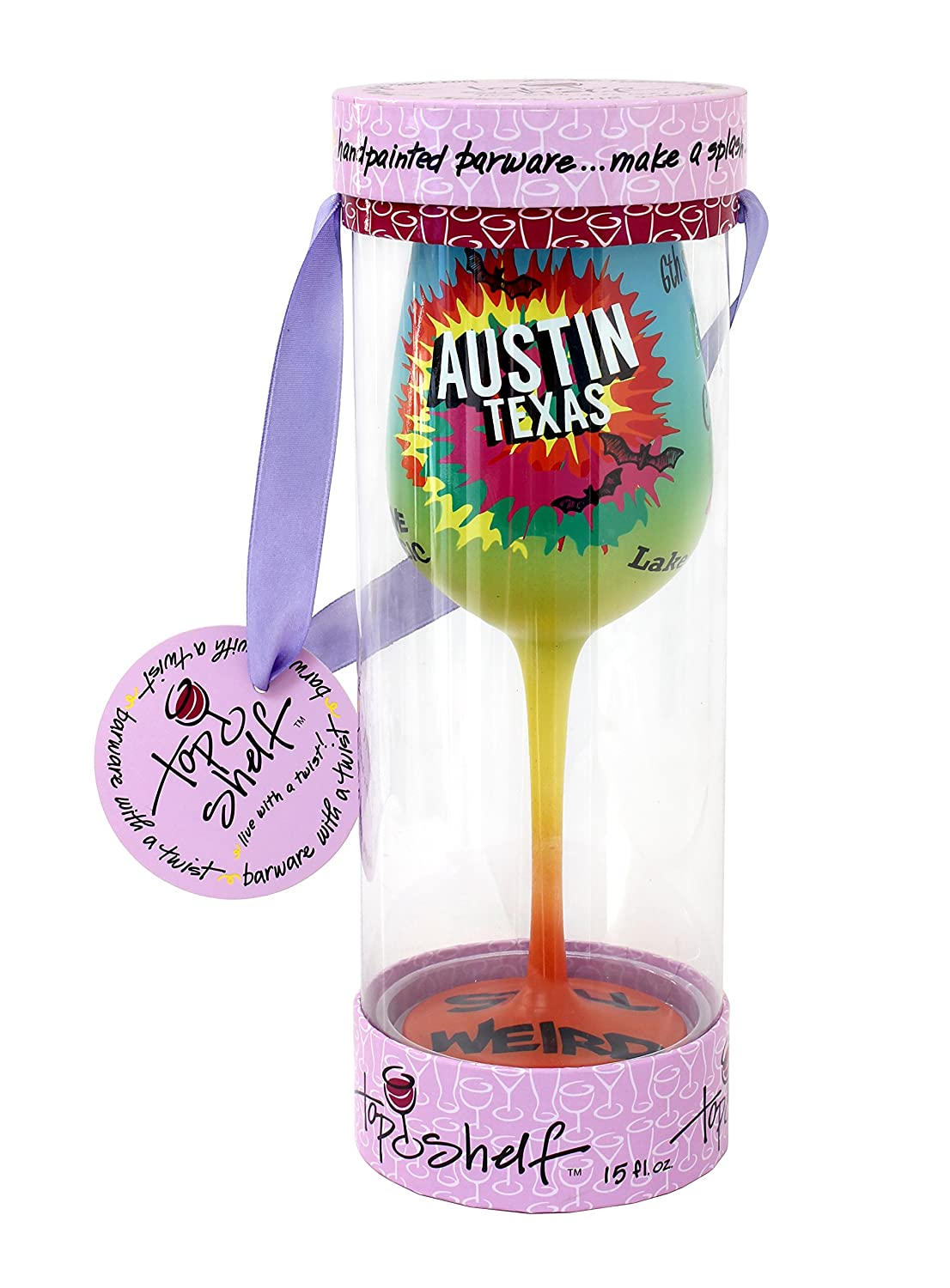 Top Shelf Multicolored Austin Texas Frosted Wine Glass ; Decorative Gift Ideas for Friends and Family ; Hand Painted ; For Red or White Wine