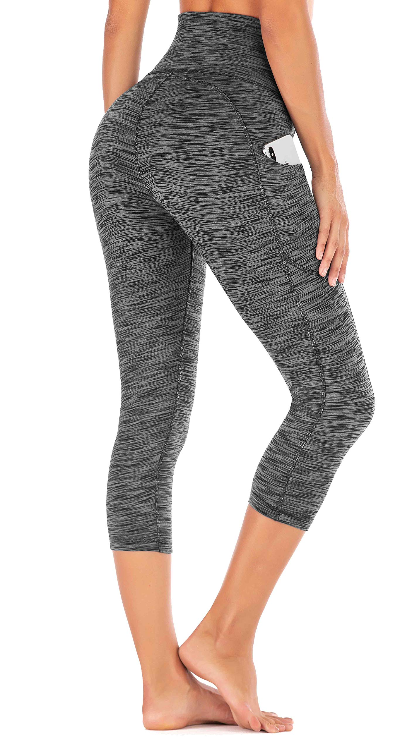 IUGA High Waist Yoga Pants with Pockets, Tummy Control Yoga Capris for Women, 4 Way Stretch Capri Leggings with Pockets(Space Dye Gray, XS) by IUGA