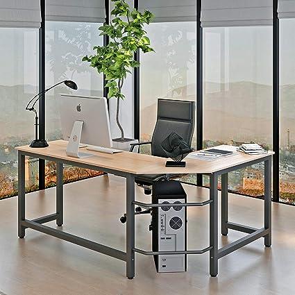 Aoou Bureau D Angle En Forme De L Bureau Informatique Compose De Bois Resistant Et De Metal Resistant Structure Plus Stable Convient Aux Grands