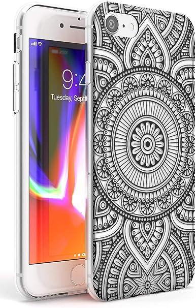 Noir Henné Cercle Slim Coque pour iPhone 7/8 / Se TPU Protecteur léger Phone Cover avec Abstract Patterns Mehndi Floral Lace