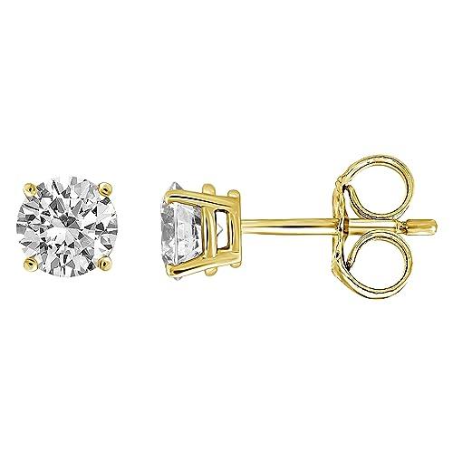 IGI Certified Diamond Stud Earrings for Women Set in 14K Gold, Supreme Quality Clarity I2I3