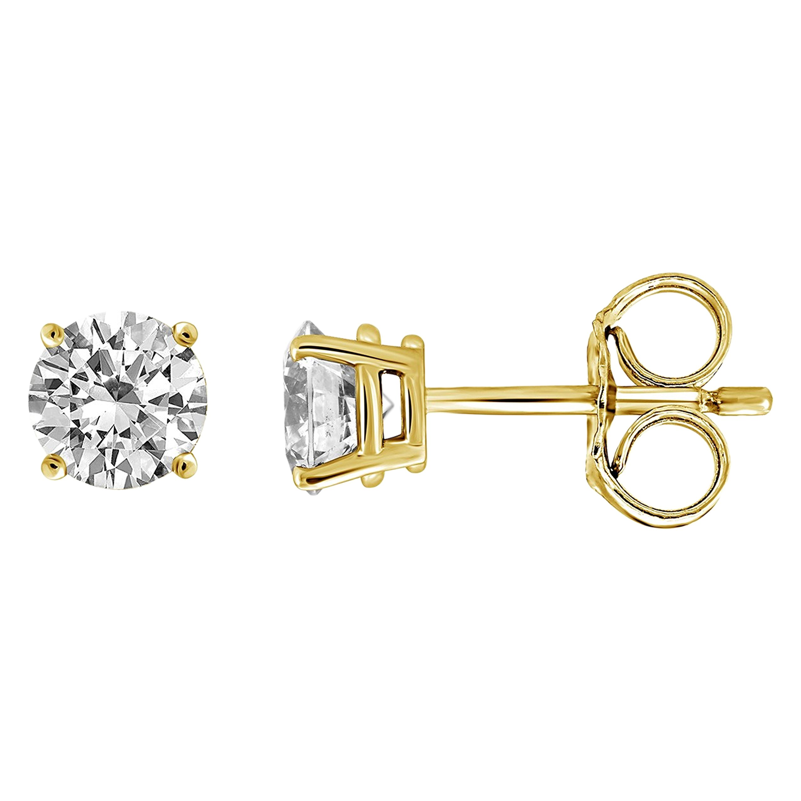 IGI Certified Diamond Stud Earrings for Women Set in 14K Gold(1/4ctw Yellow)